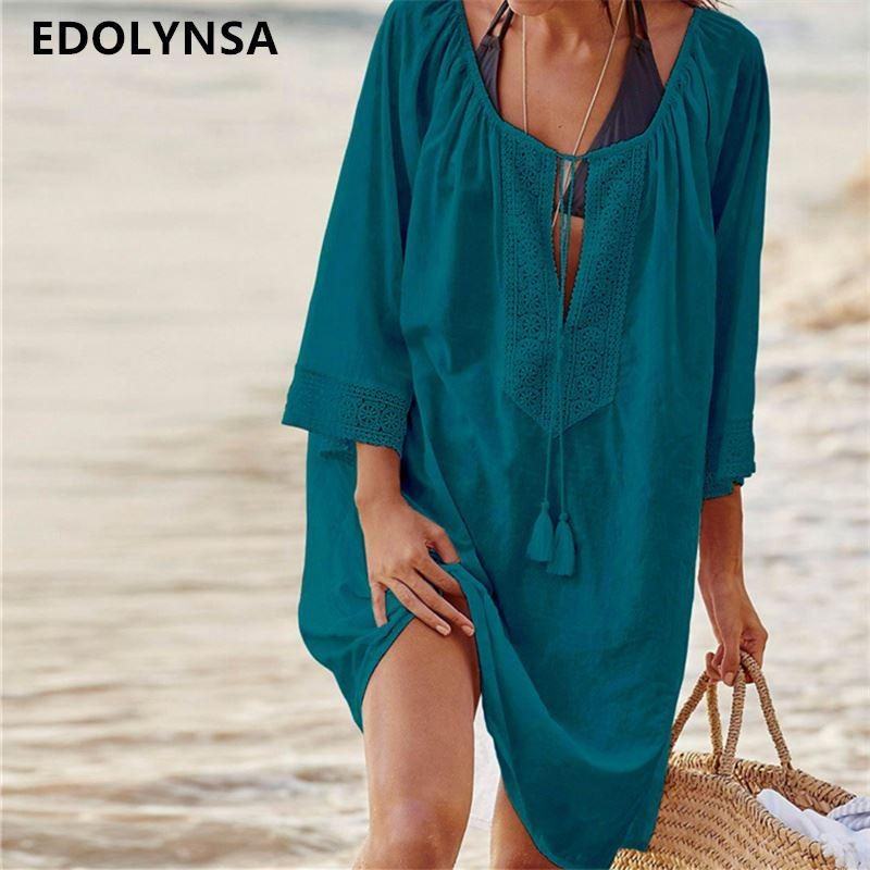 6932fa864 2019 Women Swimsuit Cover Ups Sexy Kaftan Beach Tunic Dress 2018 Summer  Robe De Plage Solid Cotton Pareo Beach Cover Up  Q363 From Acore
