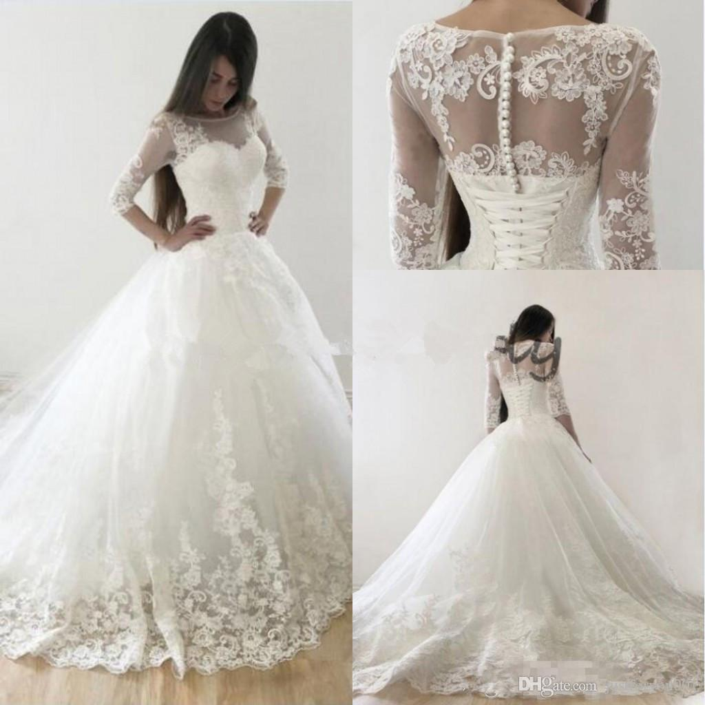 d652287592 ... princess lace pearls wedding dresses with long sleeves 2018 plus size  vintage victoria lace up corset ...