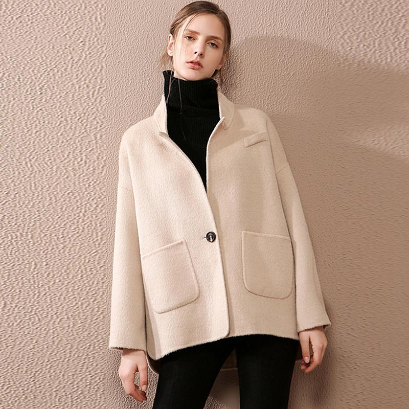 06140e0a2be 2019 Wool Women Short Coat 100% Wool Simple Design Single Button Pockets Plus  Size Loose Blazers Coat 2018 New Fashion From Yuedanya