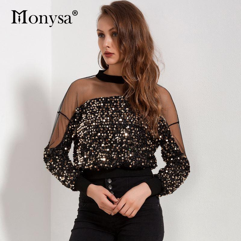 4a16d42e4d514 2019 Sequin Top Women 2018 Spring New Arrivals Fashion Long Sleeve Mesh  Patchwork Blouses Ladies Hollow Out Crop Tops Streetwear From Zhang110119