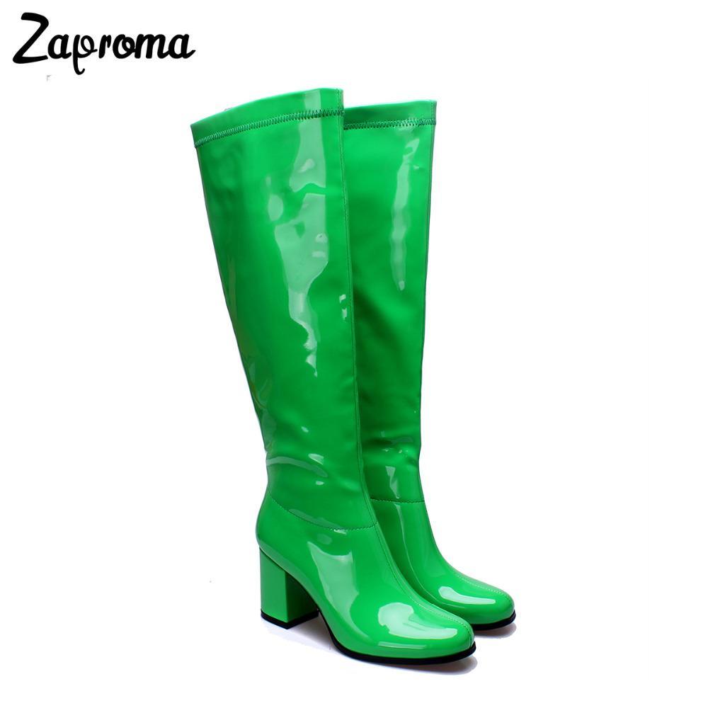 967a7b81b084 Großhandel Glitter Frauen Lackleder Go Go Stiefel Kniehohe Blockabsatz  Winter Kurz Plüsch Schuhe Med Ferse Shiny Green Regen Boot Plus Größe Von  Clearityy, ...