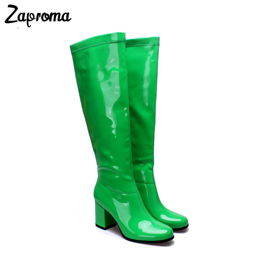 bebd2cc55d79a Glitter Women Patent Leather Go Go Boots Knee High Chunky Heel Winter Short  Plush Shoes Med Heel Shiny Green Rain Boot Plus Size Bootie Buy Shoes Online  ...