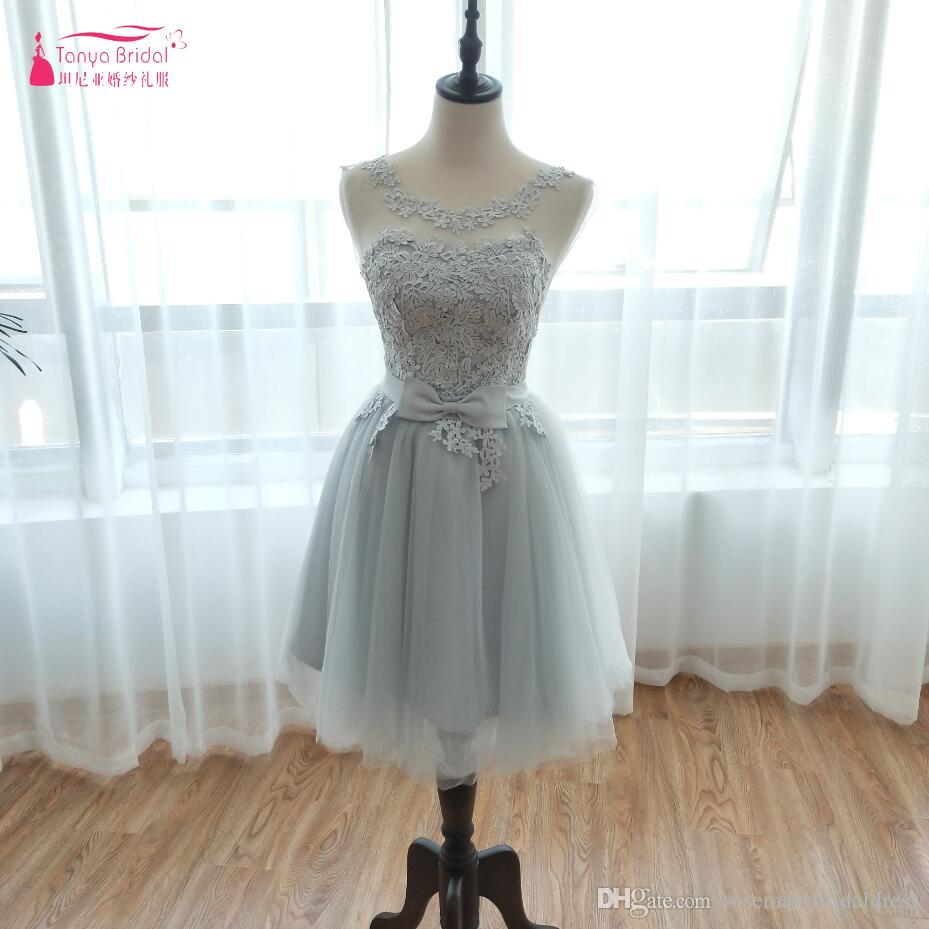 4a786b15aab A Line Lace Short Homecoming Dresses 2018 Sliver Grey Tulle Fashion  Illusion Neckline Cocktail Party Gowns Short Prom Dress Freshman Homecoming  Dresses Gold ...