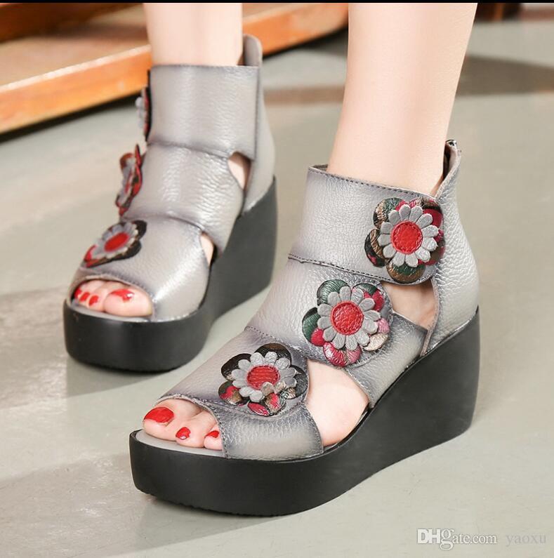 2018 Ethnic Style Genuine Leather High Heel Platform Women Sandals Lady Wedges Sandals Nice Summer Shoes