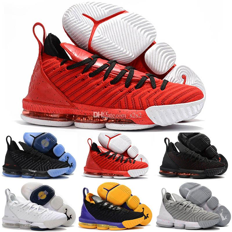 2018 New Kid Women Mens LeBron 16 XVI Black White X Foam Purple Yellow  Basketball Shoes High Quality Youth 16s Sports Size36 46 Kid Sneakers Shoe  For Kids ...
