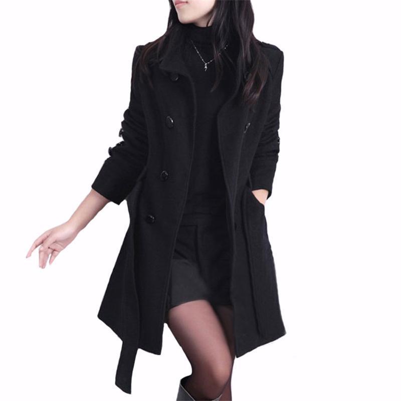 Yün Coat Kadınlar İnce Rahat Kruvaze Kadınlar Çift Palto Siper Yün Coat Uzun Bölüm Ofis için Kabanlar