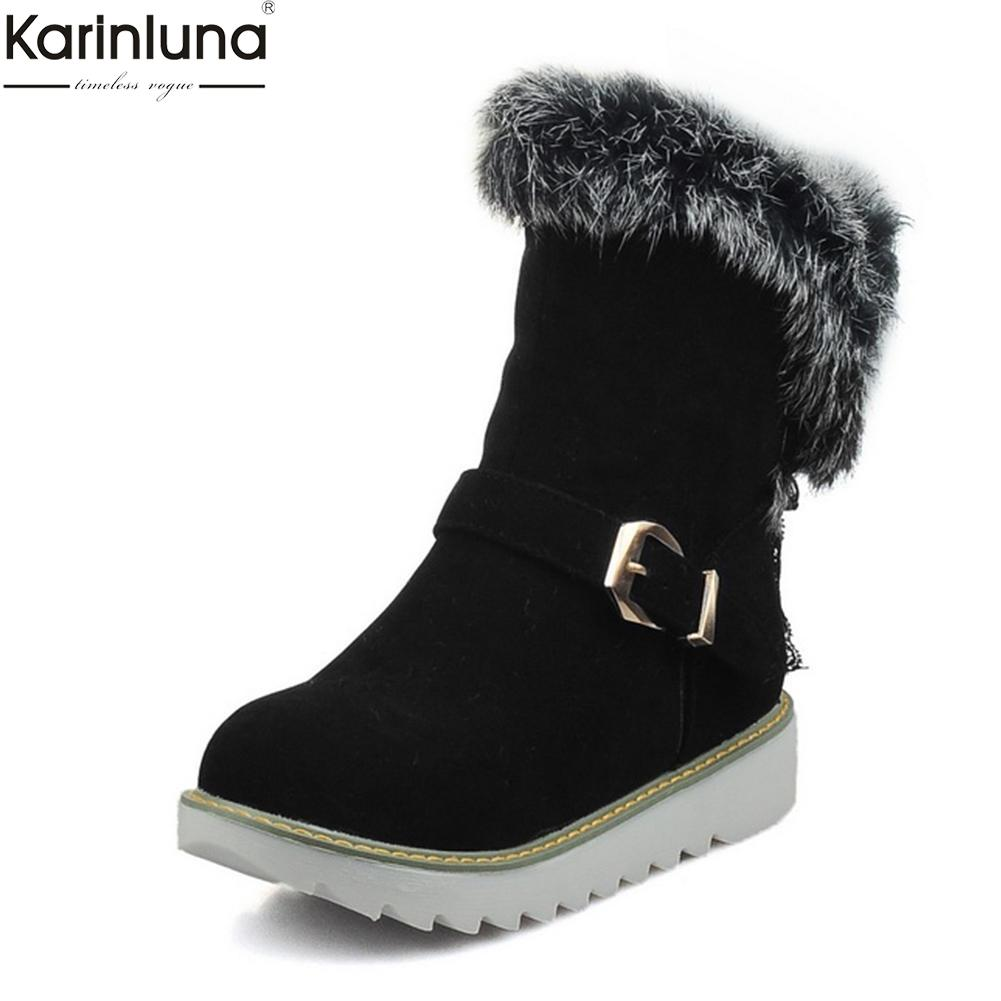 a4907c9974bd KARINLUNA Brand New Dropship Big Size 33 43 Snow Boots Women Shoes Winter  Plush Russia Sweet Slip On Comfort Boots Shoes Woman Skechers Boots Mid  Calf Boots ...