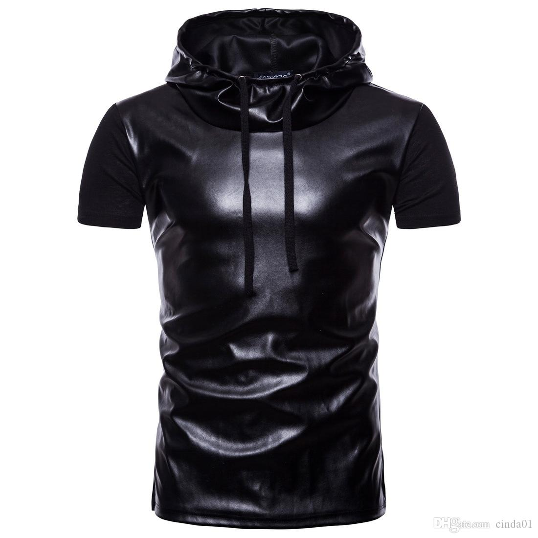 c622937ad6ca Mens Leather Panelled Hooded Casual T Shirts High Street Short Sleeve Hoodies  Male Hip Hop Crew Neck T Shirts Buy Online T Shirts Make Tee Shirts From ...