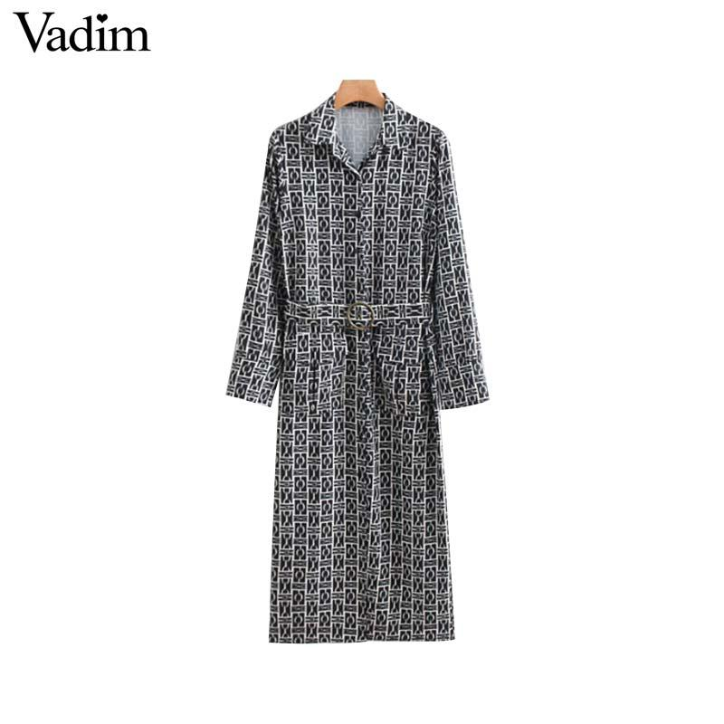 9e5129a1 Vadim Women Chain Print Shirt Dress Sashes Pockets Long Sleeve Vintage  Female Casual Straight Midi Dresses Vestidos QA710 Casual Party Dress Grey  Party ...