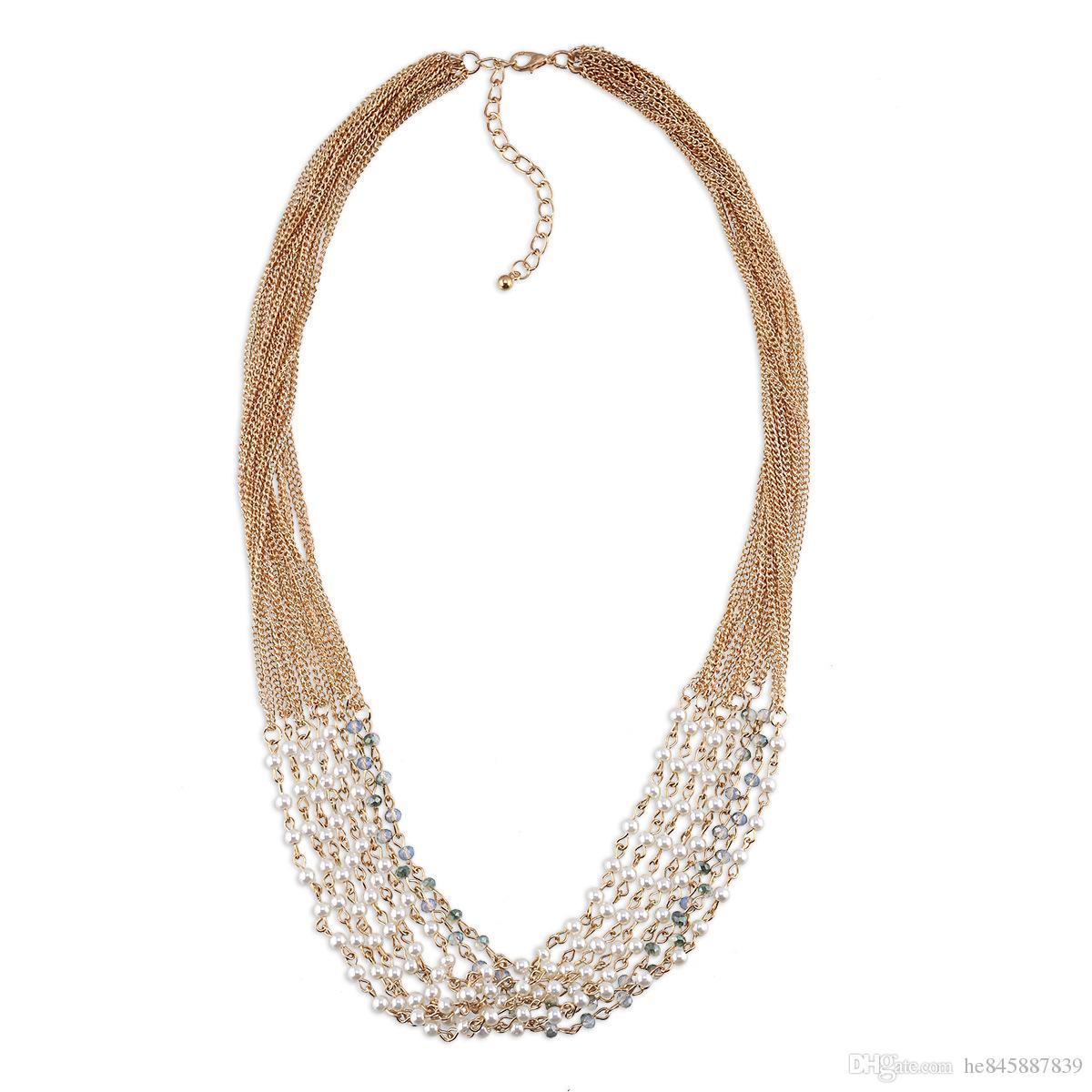 Maglione Di Lusso Gioielli D'oro Perle Perline Collane Acquista xrdBCoWe
