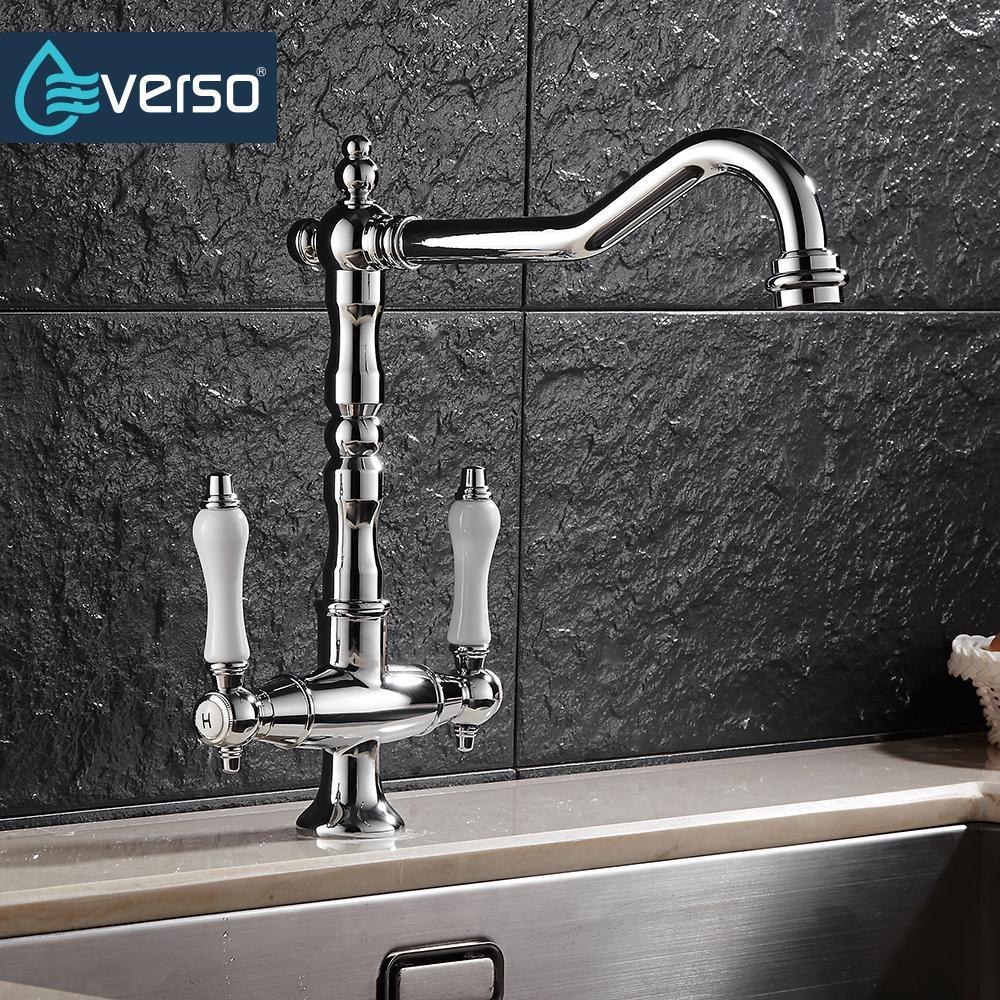 Best Everso 360 Swivel Antique Brass Kitchen Faucets Dual Porcelain ...