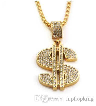 Gold Color Money Symbol Pendant Hip Hop Bling Crystal Dollar Sign