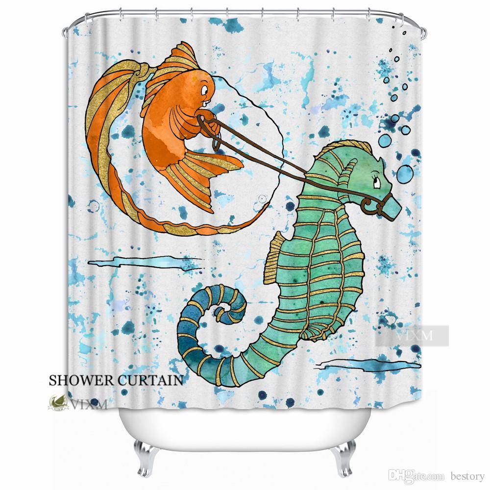 2019 Vixm Home Marine World Animal Fabric Shower Curtain Seahorse And Fish Custom Bath For Bathroom With Hooks Ring 72 X From Bestory