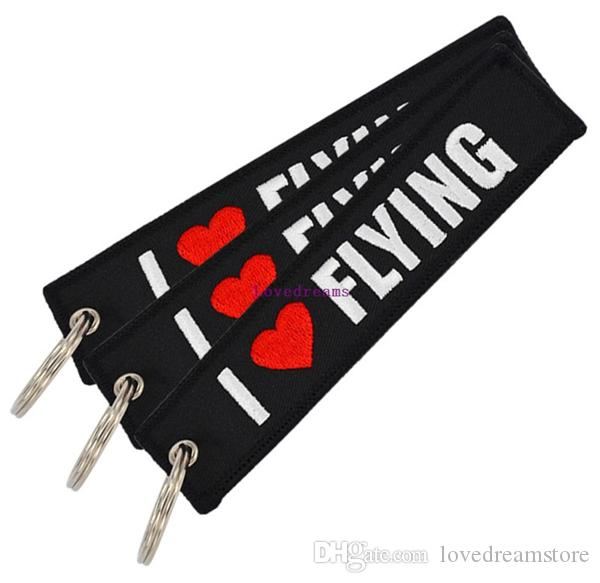 30 pcs/lot Car Key Holder OEM Keychain Jewelry Embroidery I LOVE FLYING phone Key Ring Chain for Aviation Gifts Luggage Tags