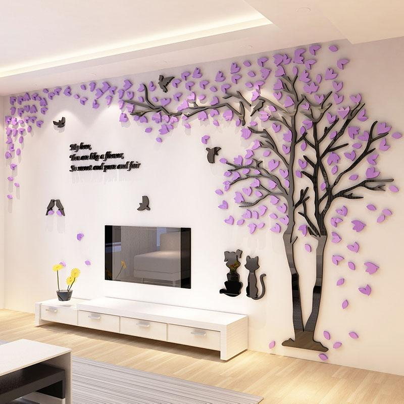 2017 New Tree Design Tv Background Wall Decorations Acrylic Wall
