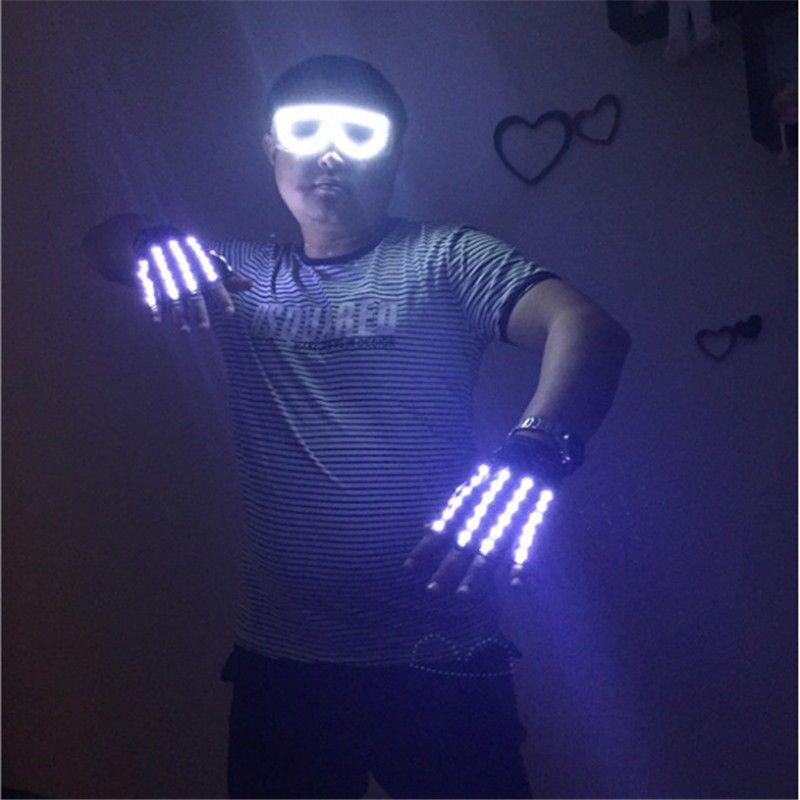 ST007 Rechargeable gloves DJ gloves disco club bar wears LED luminous gloves choose ballroom dance led costumes performance