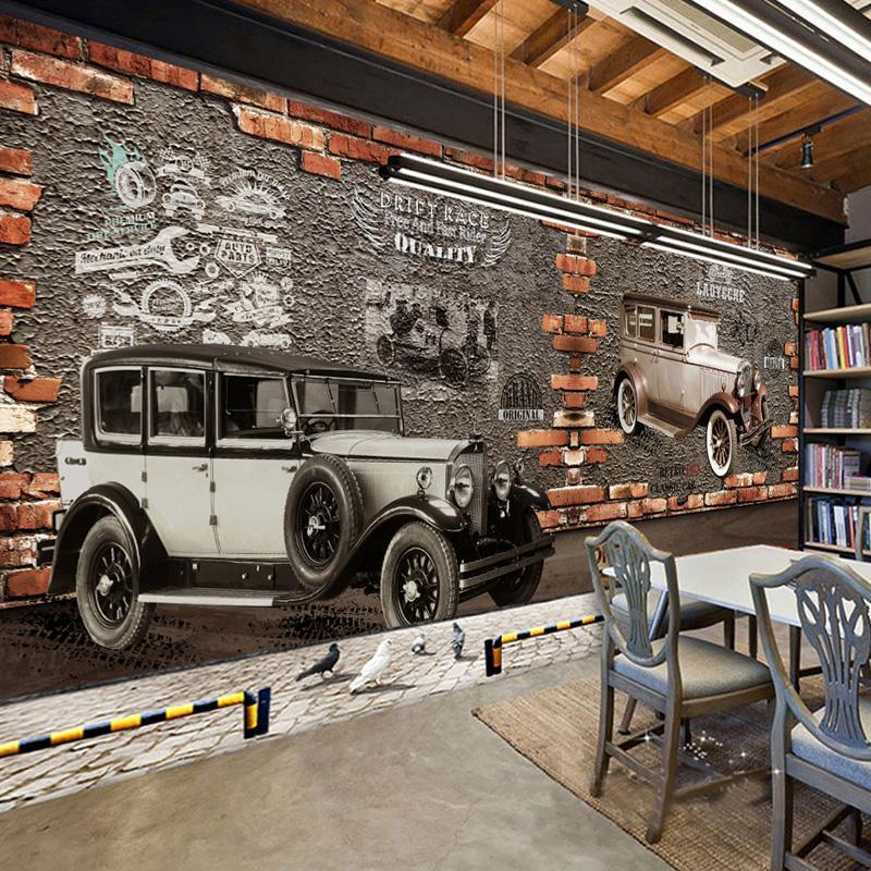 Custom Mural Wallpaper 3d Retro Vintage Car Brick Wall Murals Cafe