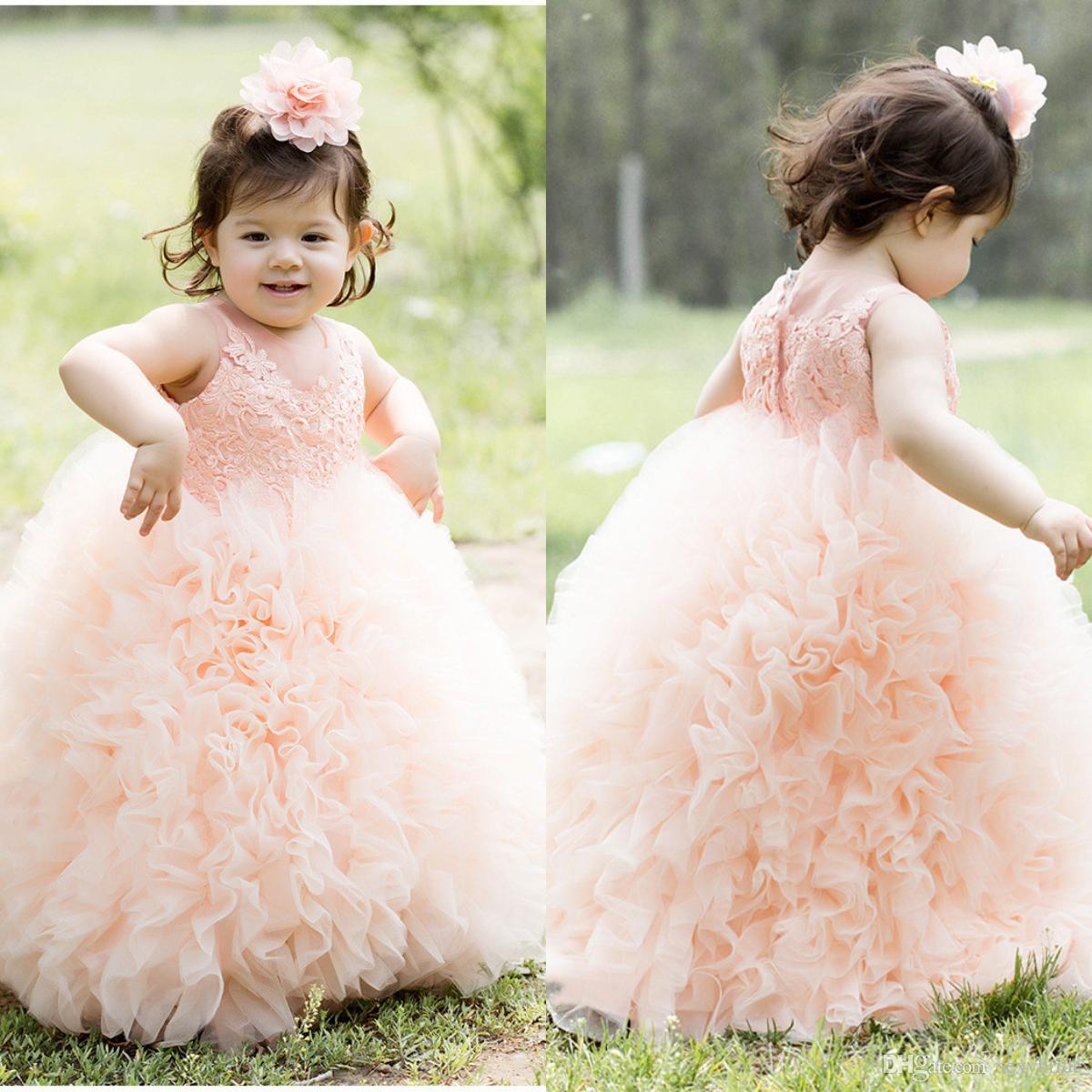 Sin Vestidos Con Color Mangas Fiesta Niños Lindos Encaje Rosa Para Vestido De Chicas Flores Apliques Niña kXOTiwZuP