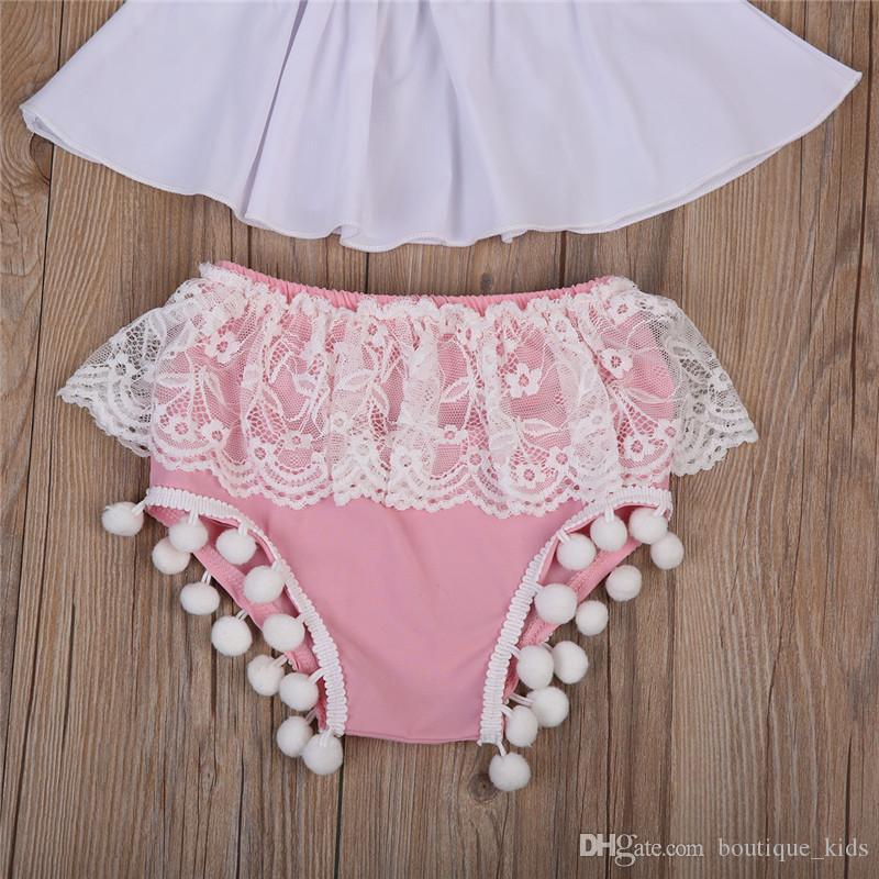 Bebê recém-nascido Roupas de Menina Roupa Infantil de Verão Plissado Tops + Lace Tassel Shorts Bottoms + Headband Algodão Crianças Meninas Da Criança Outfit Set