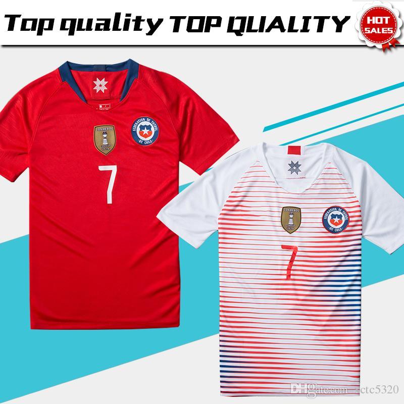 2018 Chile Local Jersey De Fútbol Rojo 2018 19 ALEXIS Chile Visitante  Camisetas De Fútbol Blanco VIDAL VALDIVIA Uniforme De Fútbol Por Xctc5320 307694734c99a