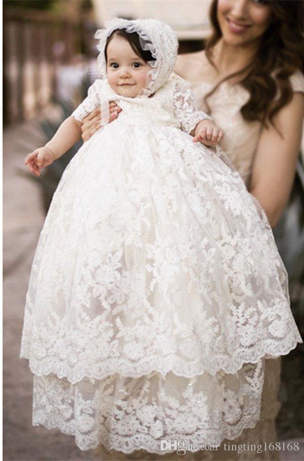 Elfenbein Vintage Baby Kurzarm Mädchen Kleid Weiß Taufe Taufkleid Spitze PuiZOkX
