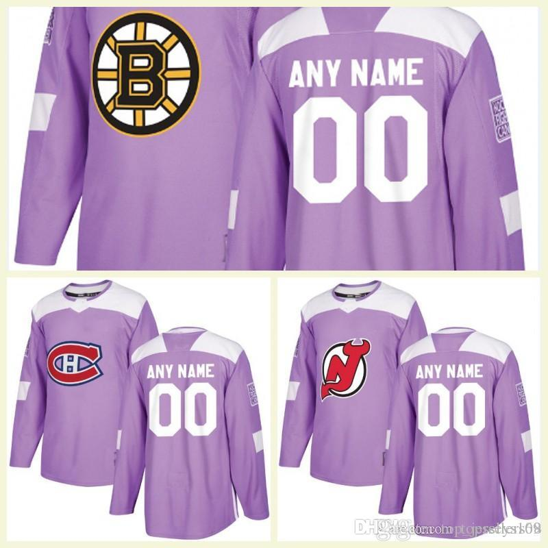 5d95c23dc3a 2019 Customized Vegas Golden Knights Chicago Blackhawks Nashville Predators  Avalanche Canucks Purple Fights Cancer Practice Hockey Jerseys From ...