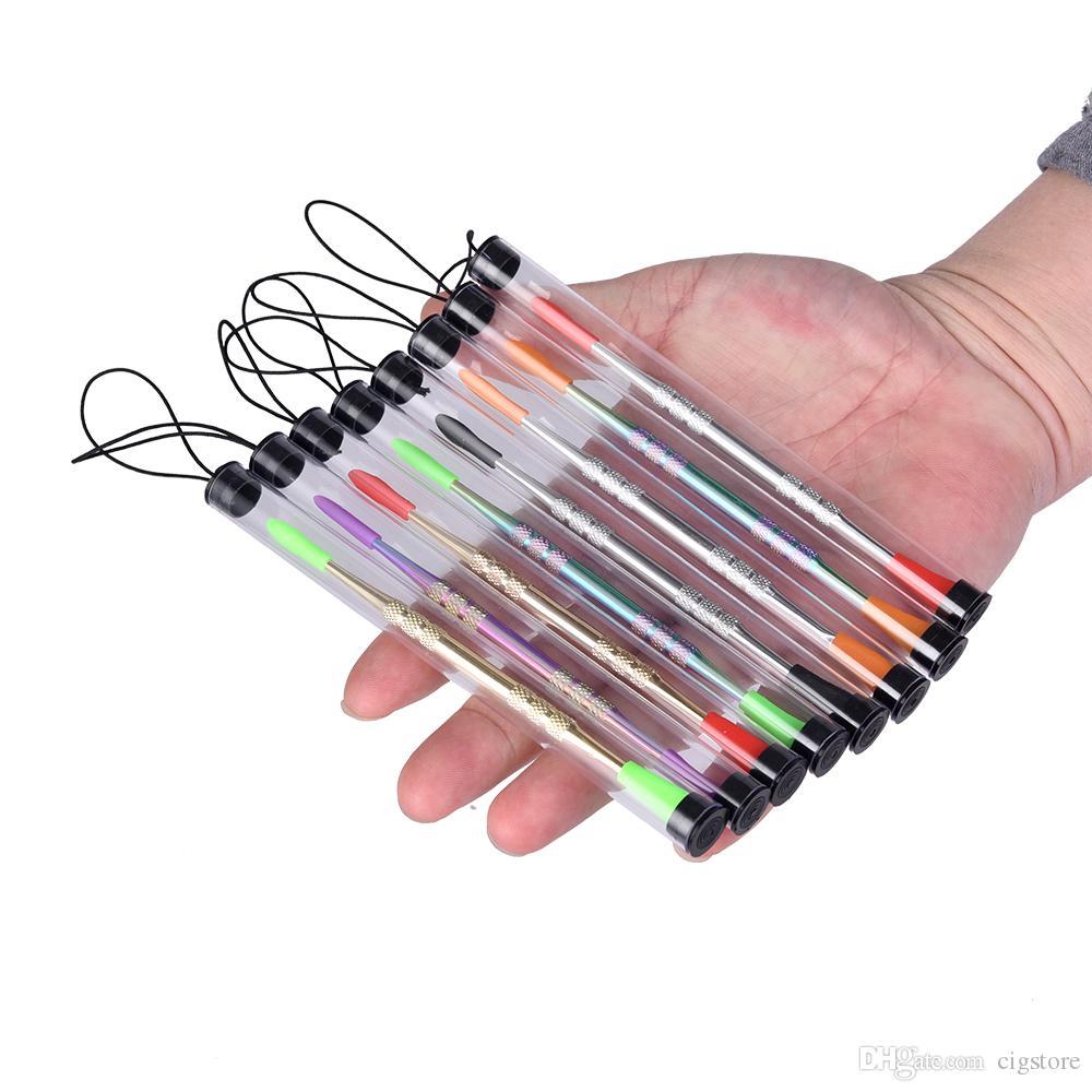 розничная упаковка воск dabber инструменты с силиконовым наконечником золото/серебро/Радуга цвет 121 мм dab инструмент сухой травы испаритель ручка для силиконовый коврик контейнер