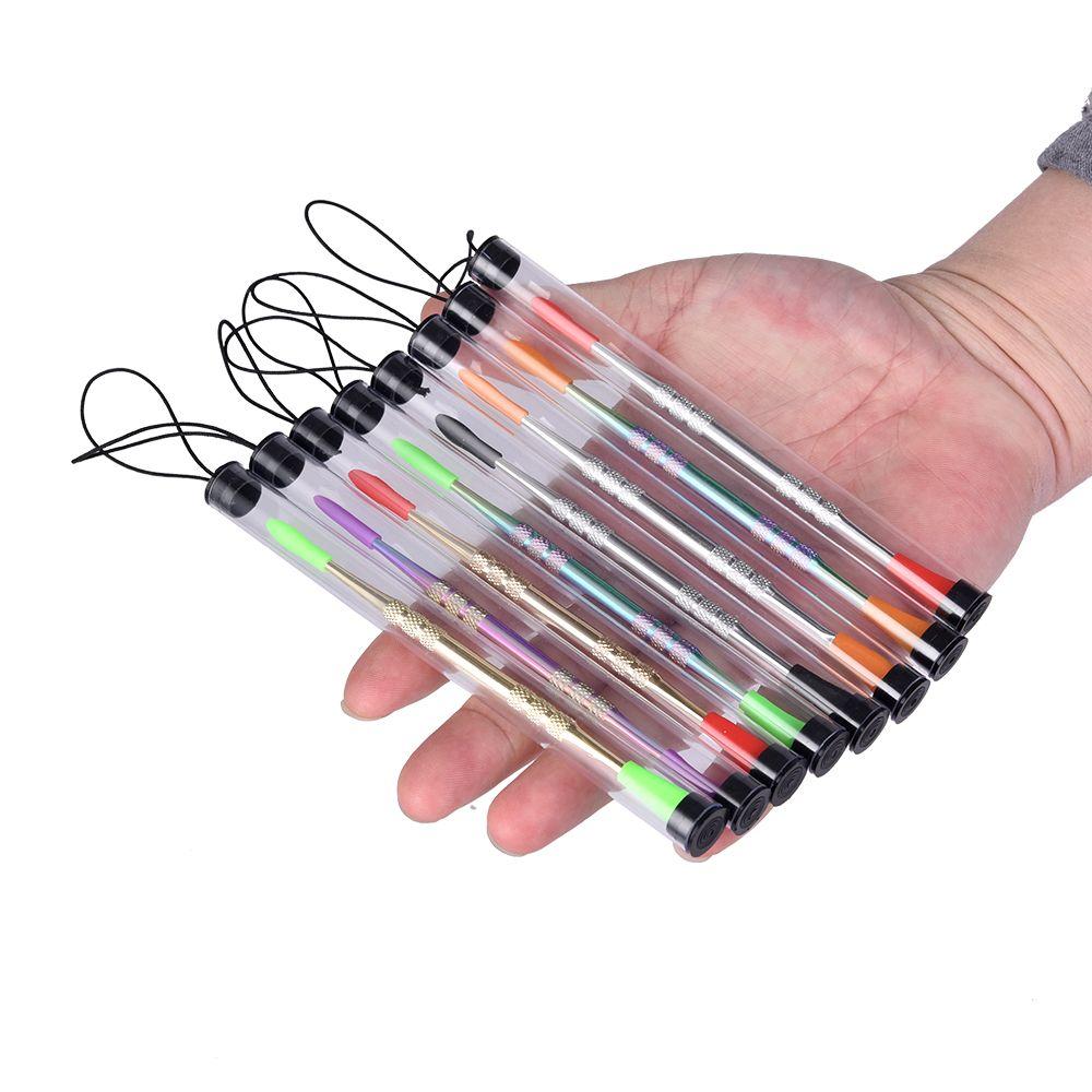 Outils de vente au détail de cire dabber avec pointe en silicone Or / argent / couleur arc en ciel couleur 121mm stylo vaporisateur d'herbe sèche stylo pour récipient en silicone mat