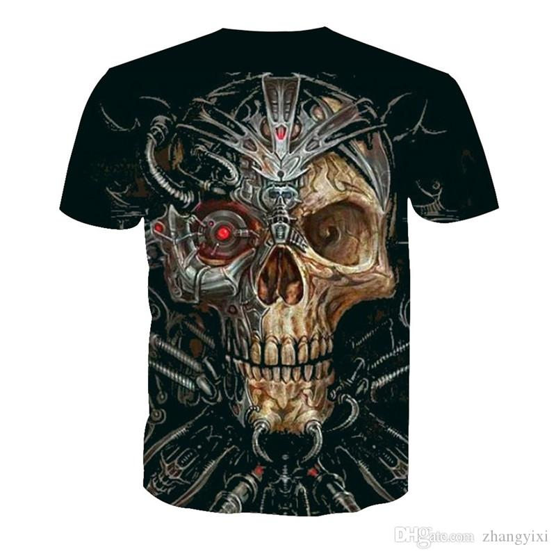 Wholesale Custom Design 3D Many Skulls Transfer Printing Couple Short Sleeve Fashion Tshirt Tops