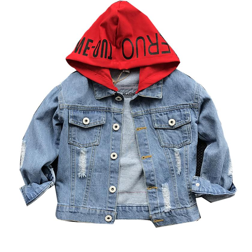 a73033f3b Spring&Autumn Boys Denim Jacket With Hoodies Children Jeans Coat Long  Sleeve Causal Outerwear For Kids Baby Boys Clothes C87801A Children Jacket  Jackets For ...