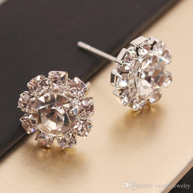 d5f974b83 2019 Fashion Cute 18K White Gold Plated Cubic Zirconial Crystal Sun Flower Stud  Earrings For Women Girlfriend Ladies Wedding Jewelry Cheap Price From ...