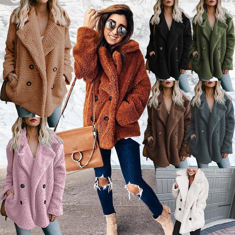 86192c34a94 2018 Warm Winter Women Sweater Casual Long Sleeve Solid Color Pockets  Sweater Streetwear Loose Female Cardigans Sweater Overcoat 3XL