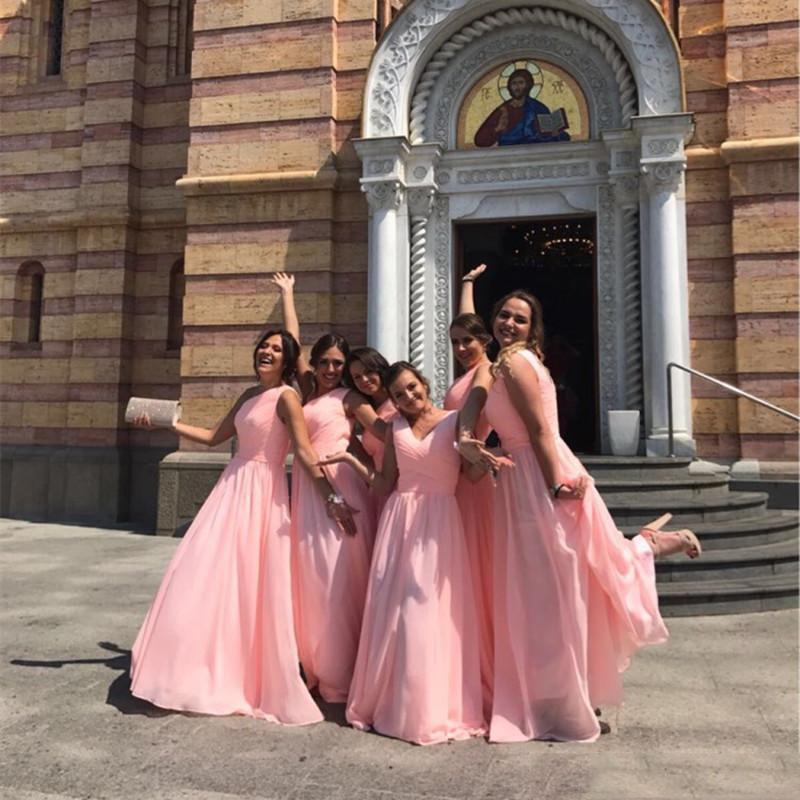 Mint Green Long Chiffon Bridesmaid Dress 2018 Cheap A Line Pleated Bridesmaid Dresses Under 100 3 Styles
