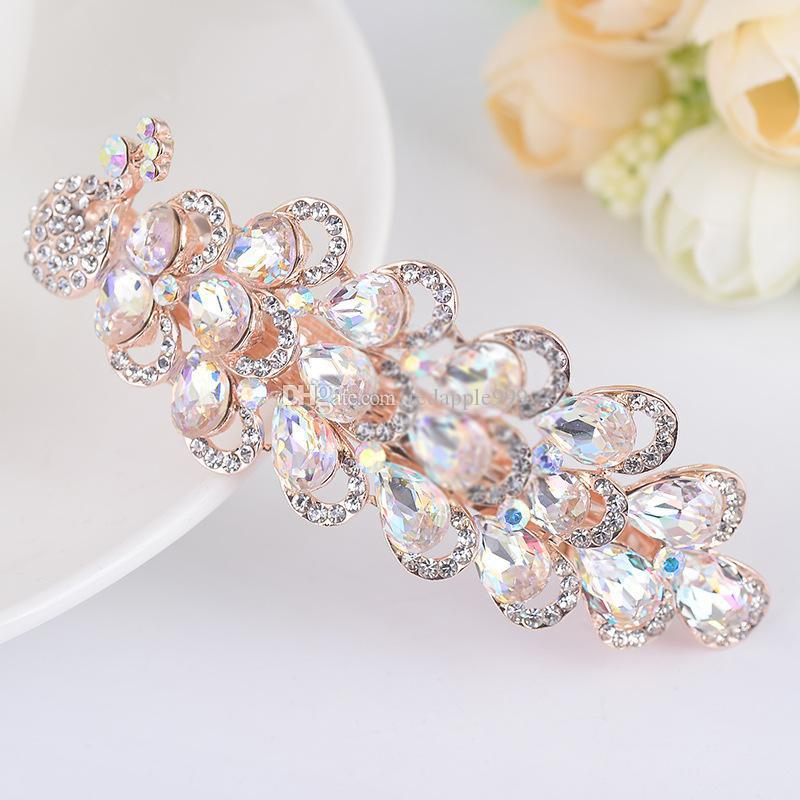 Luxurious Crystal Rhinestones Peacock Hairpin Clip Hair Barrette Fashion Clips Hair Jewelryclips Hair Accessories