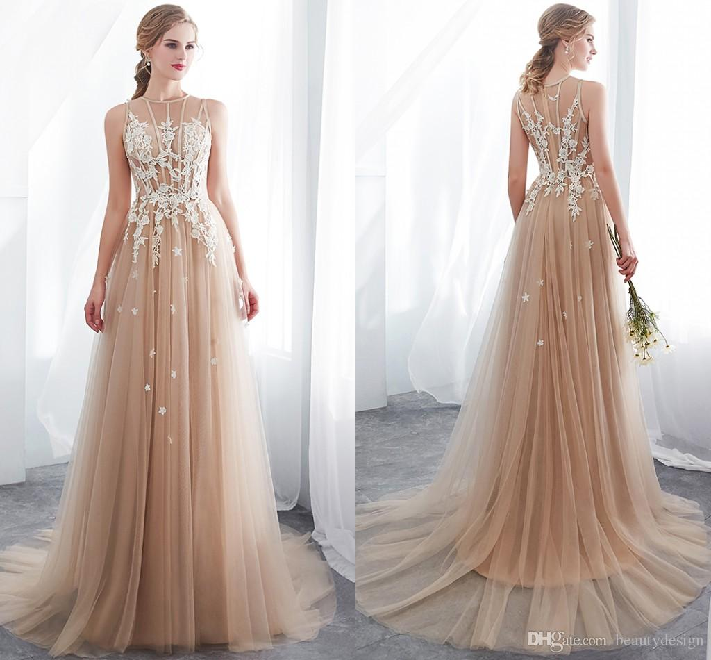 ff0b67f2ef 2019 New Design Champagne Prom Dresses A Line Lace Applique Sheer Neck  Tiered Tulle Elegant Forma Dresses Evening Wear Cheap CPS1009 Short Purple  Prom ...