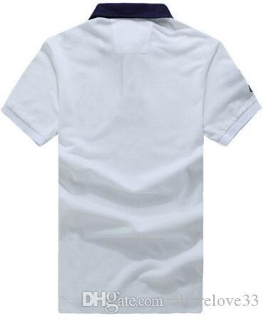Hot Sale New homens sólido Polo Big Pony Bordado Verão Design Americano Casual Polo clássico T-shirt Slim Fit Cotton Tops Tees Branco