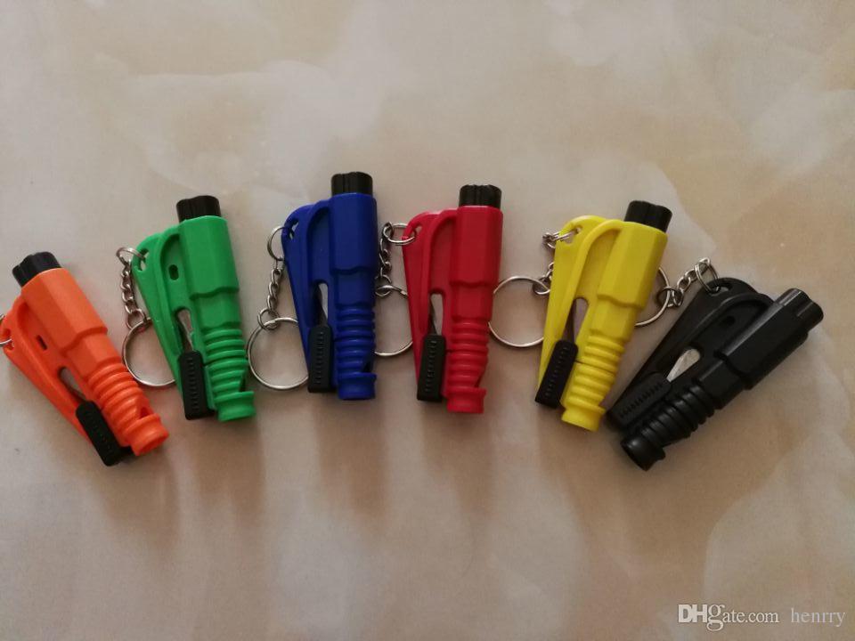 Mini sécurité marteau garde du corps d'urgence SOS aide sifflet coupeur de ceinture de siège de voiture fenêtre rupture évasion fenêtre briseur de verre porte-clés couteau sifflet