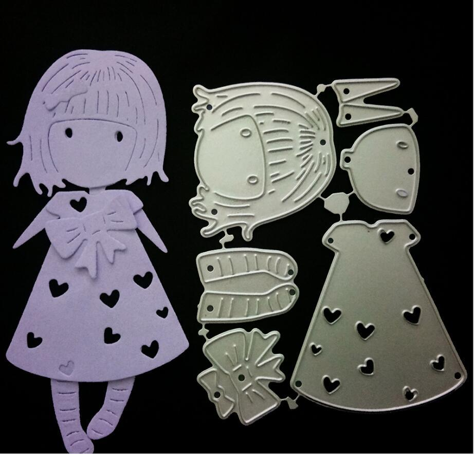 scrapbook Diy Embossing Mould Long Hair Girl Steel Cutting Moulds Paper Crafts Handmade tool decor mould FFA766