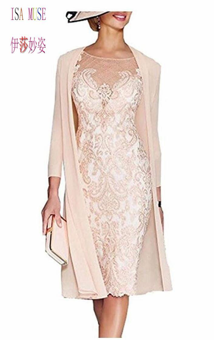 Lace Mother Of The Bride Dresses Plus Size Formal 3/4 Sleeve Knee Length  Sheer Neck Applique Mother Groom Dresses