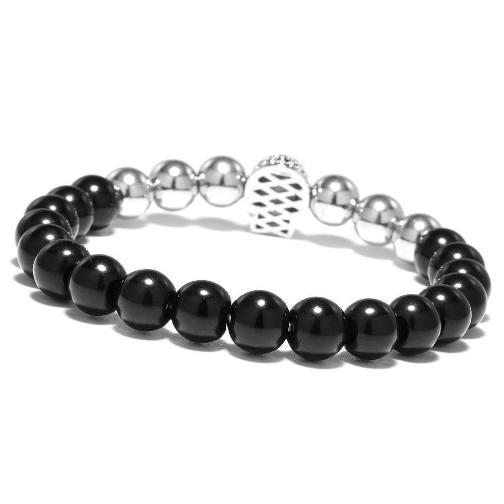 Piedra natural micro cristal cráneo pulsera gótica perlas elásticas para hombres joyería hecha a mano