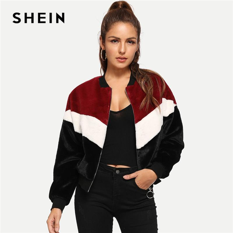 60deac516b SHEIN Multicolor Weekend Casual Chevron Fuzzy Teddy Colorblock Zipper Jacket  2018 Autumn Streetwear Women Coat And Outwear Winter Jackets Jean Jacket  From ...