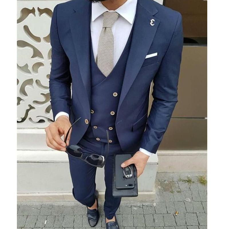 ca52ed773952b Compre Azul Marino Traje De Hombre Chaqueta Estilo Novio Trajes Slim Fit 3  Piezas Smoking Personalizado Hombre Blazer Trajes De Fiesta Chaqueta +  Pantalones ...