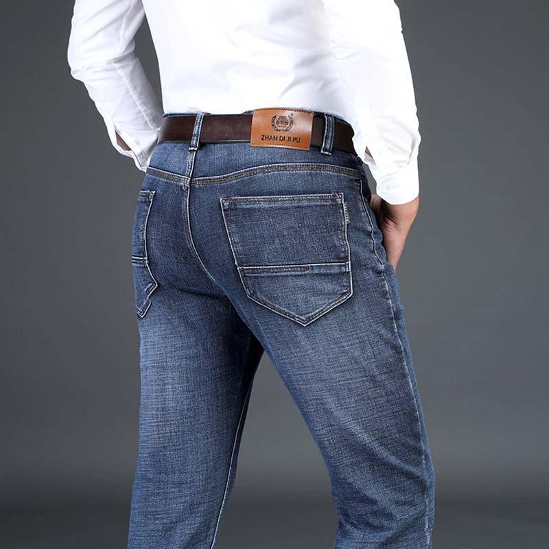 b24e0c35c46e69 Grande Taille 42 44 Automne Hiver Hommes Jeans Taille Élastique Taille  Jeans Hommes Droite Long Pantalon Homme Mâle Stretch Denim Bottoms