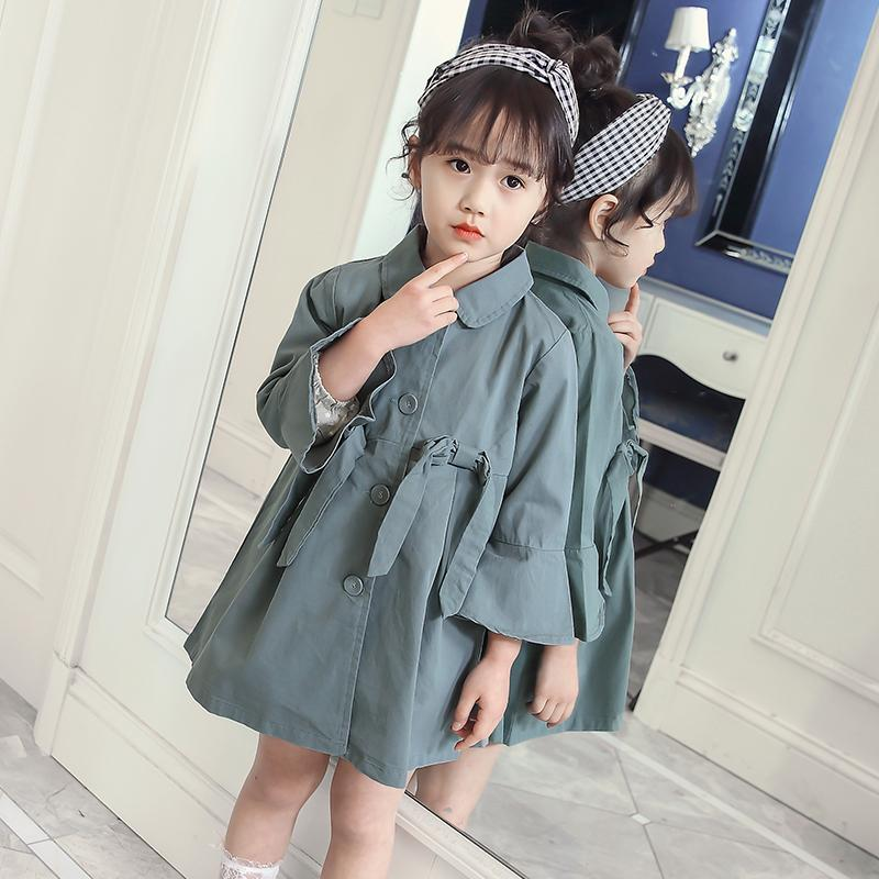 Trench Coats For Girls 2-11 Years Long Sleeve Baby Girl Windbreaker 2018 Autumn Clothes Korean Style Kids Teens Jackets 8 10 11