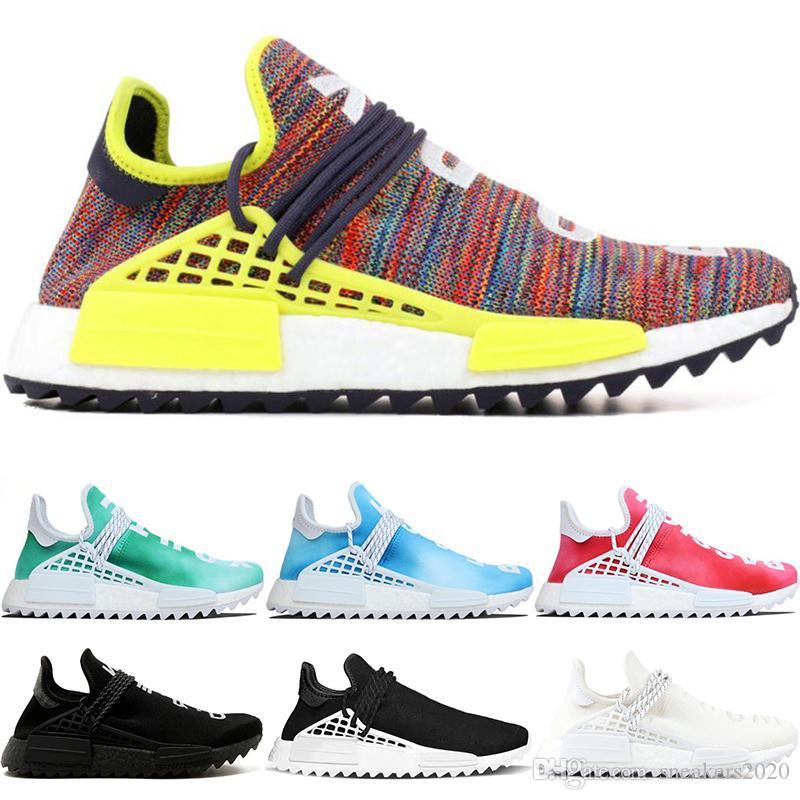 Designer Human Race Trail Laufschuhe Herren Damen Pharrell Williams HU Nerd Schwarz Creme Weiß Equality Runner Top Sport Sneaker Größe 5 12