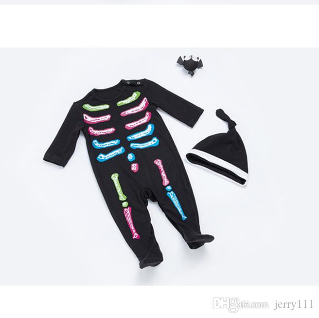 609b5fd7b51c2 2019 0 24 Months Baby Halloween Skull Clothes Autumn Infant Girls Boys  Black Party Rompers Kids Long Sleeve Romper Costume LE44 From Jerry111, ...