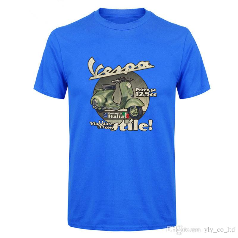 2018 Vintage Men Vespa 125CC Italia Travel Motorcycle T Shirt Male ... e0014d02ce5a