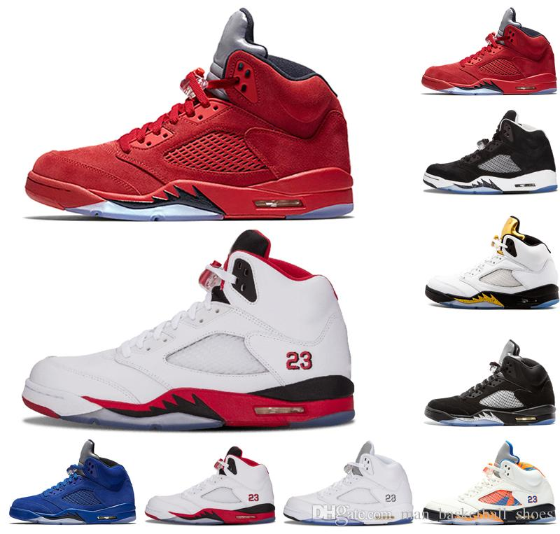 separation shoes 5a3cc a3dbf New Blue Red suede 5 5s men basketball shoes Fire Red International Flight  Metallic Silver White Cement mens trainers sports shoes sneakers