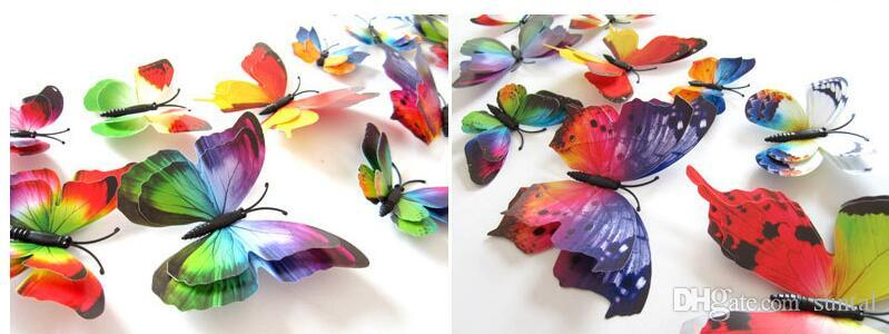 Rastgele Mix 3D Renk Kelebek Duvar Çıkartmaları Duvar Çıkartmaları Ev Dekor veya Cadılar Bayramı Parti Malzemeleri için Çeşitli Boyut