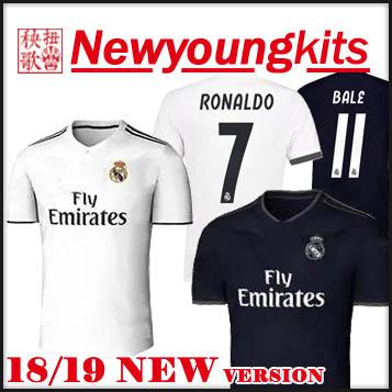 2019 2018 19 Real Madrid Home Soccer Jersey Away Black Football Uniforms 18  19 New Font RONALDO ASENSIO MODRIC BALE RAMOS BENZEMA Soccer Shirt From ... f16e09aa3
